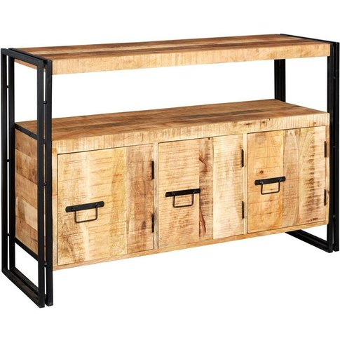 Indian Hub Cosmo Industrial Sideboard With 3 Drawer