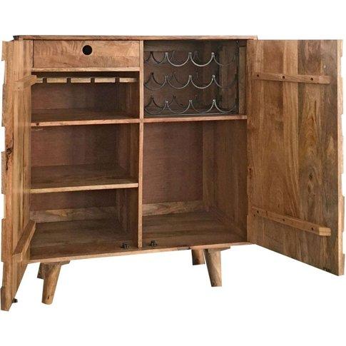 Jaipur Hexagonal Mango Wood Compact Bar Cabinet