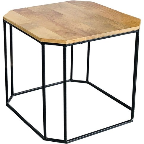 Jaipur Ravi Mango Wood And Iron Small Side Table - R...