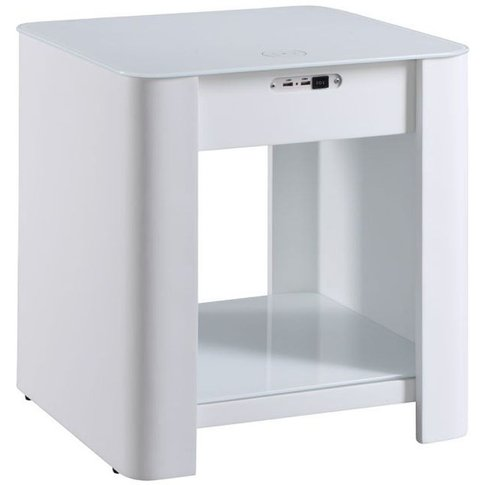 Jual San Francisco White Bedside Cabinet With Blueto...