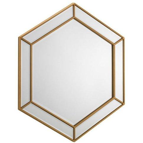 Julian Bowen Melody Gold Hexagonal Wall Mirror - 80c...