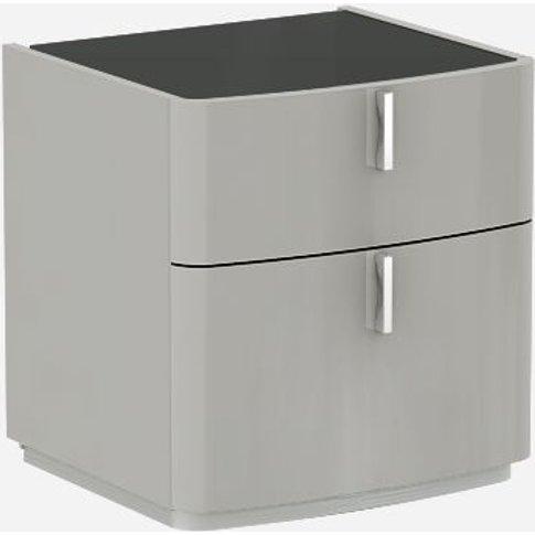 Sabron Cashmere High Gloss 2 Drawer Bedside Cabinet ...