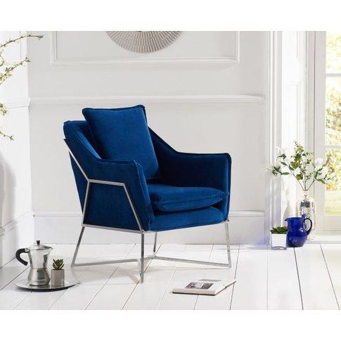 Mark Harris Larna Blue Velvet And Chrome Accent Chair