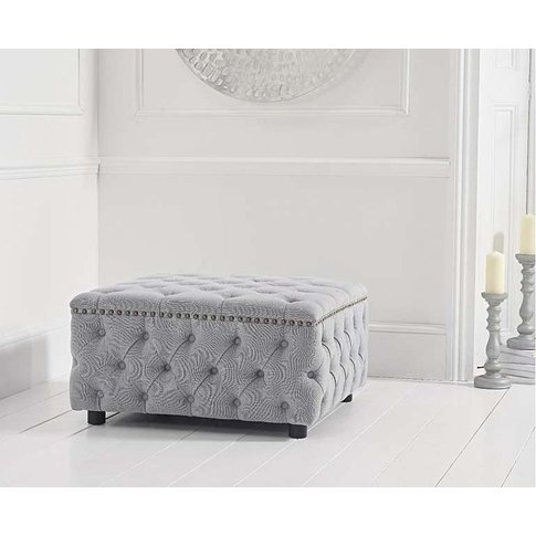 Mark Harris Fiona Grey Linen Fabric Square Footstool