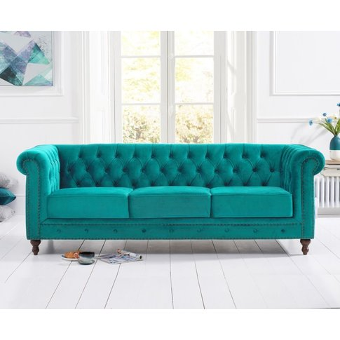 Mark Harris Montrose Teal Plush Fabric 3 Seater Sofa