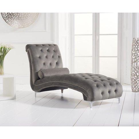 Mark Harris New England Grey Velvet Fabric Chaise Lo...