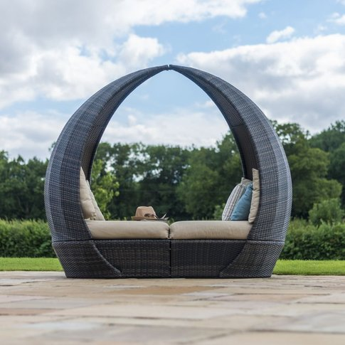 Maze Rattan Flat Weave Tulip Brown Daybed