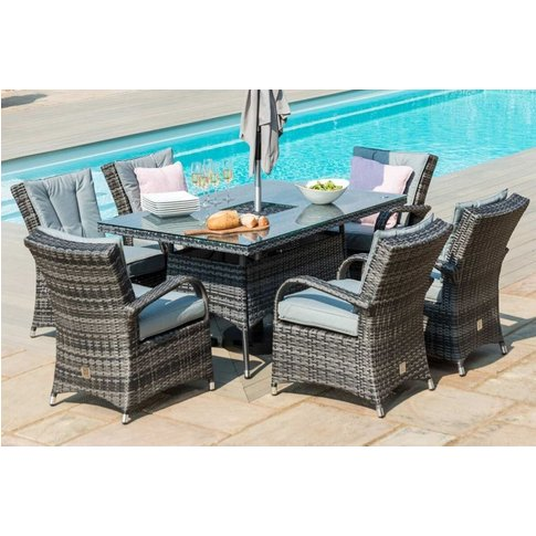 Maze Rattan Flat Weave Texas Grey Dining Table With ...