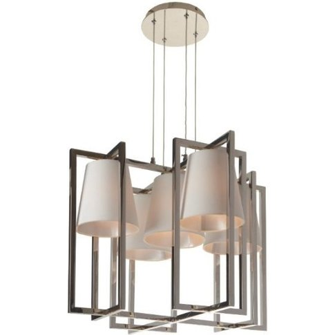 Rv Astley Hurricane Nickel Thomas Griem Chandelier With 5 Square Light And Shade