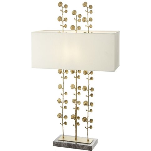 Rv Astley Kyle Table Lamp - Shiny Brass And Grey Marble