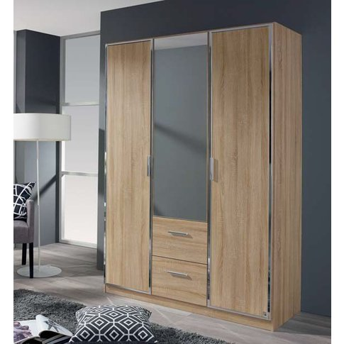 Rauch Marl 3 Door Combi Wardrobe In Oak - W 136cm