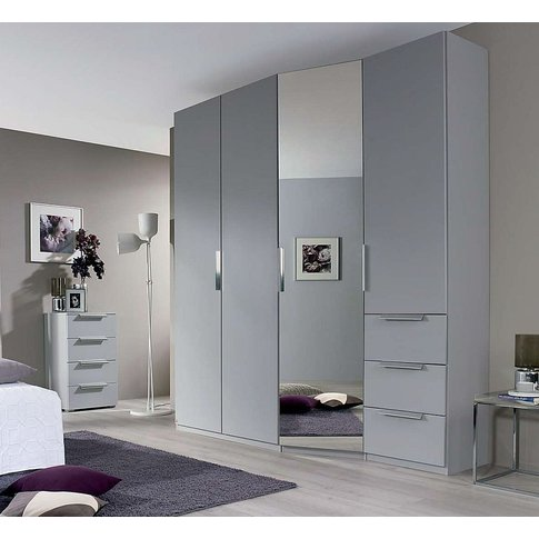 Rauch Moyano 4 Door Combi Wardrobe In Silk Grey - W 197cm - Rhd