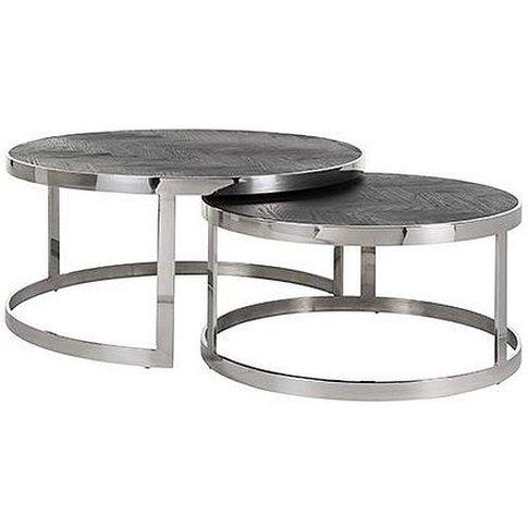 Blackbone Black Oak And Silver Round Coffee Table (S...