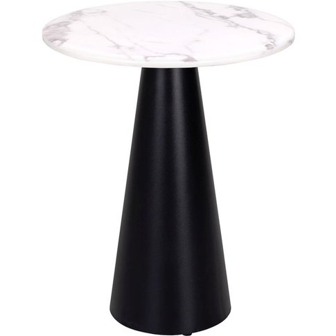 Degas White Faux Marble Side Table