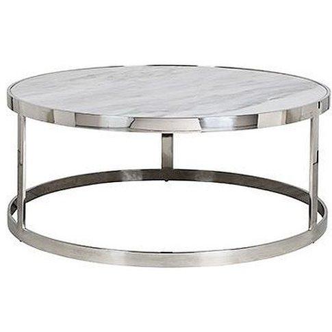 Levanto White Marble Top Round Coffee Table