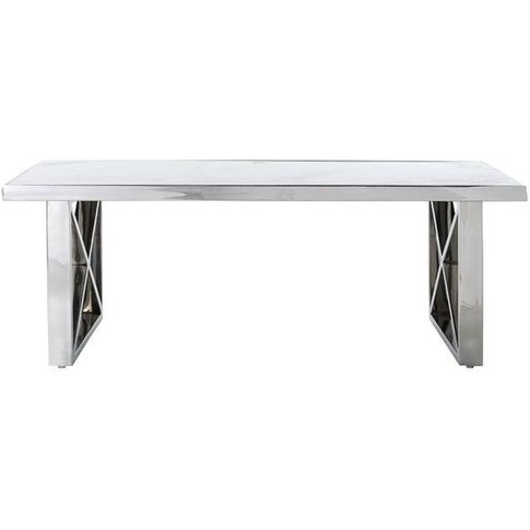 Levanto White Marble Top And Cross Leg Coffee Table