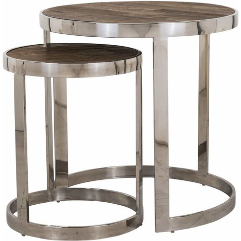 Maddox Elm Wood And Stainless Steel Round Side Table...