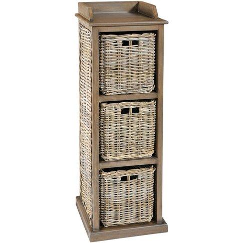 Rowico Maya Rattan 3 Basket Storage Unit - Grey Wash