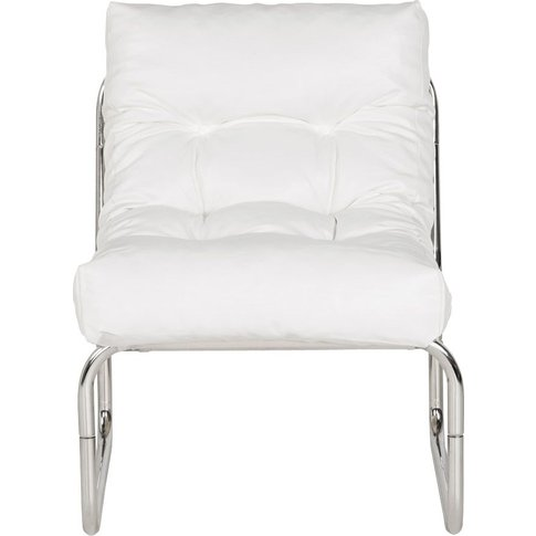 Lindau White Faux Leather Lounge Armchair
