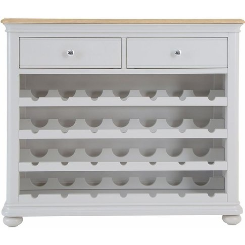 Annecy Soft Grey Painted 2 Drawer Wine Cabinet