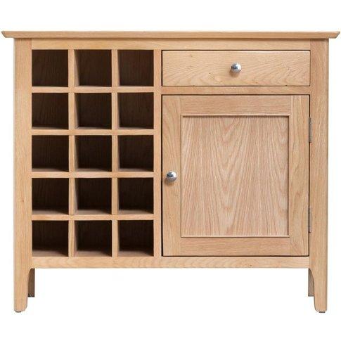 Appleby Natural Oak 1 Door 1 Drawer Wine Cabinet