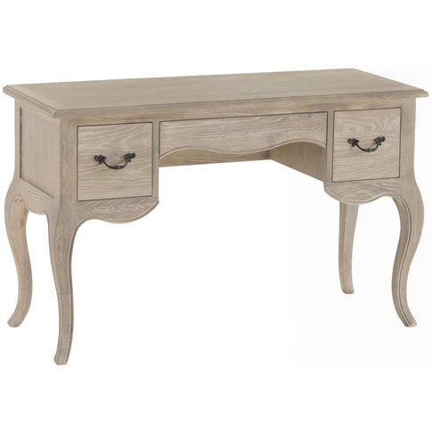 Camille French Style Grey Lime Washed Oak 2 Drawer D...