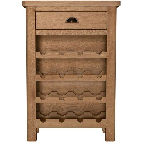 Hampton Rustic Oak 1 Drawer Wine Cabinet