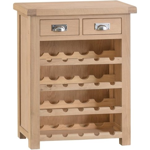 Henley Washed Oak 2 Drawer Wine Rack