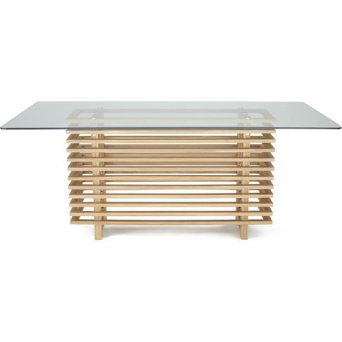 Serene Holborn Dining Table - Clear Glass And Oak