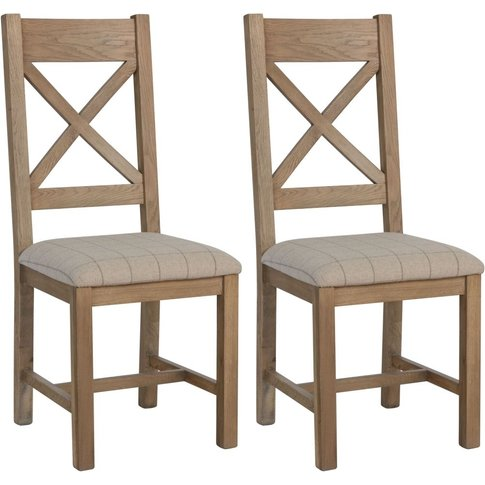 Hatton Oak Cross Back Dining Chair With Natural Fabr...
