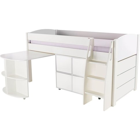 Stompa White Mid Sleeper Including Pull Out Desk Wit...