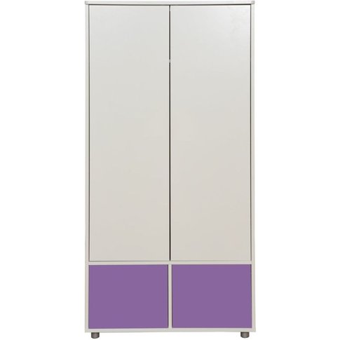 Stompa White Tall Wardrobe With Purple Doors