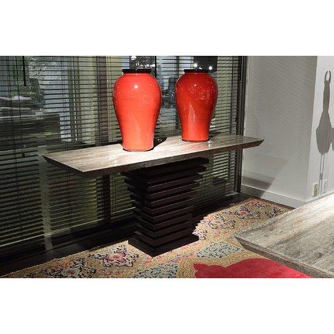 Stone International Ark Beveled Marble Console Table...