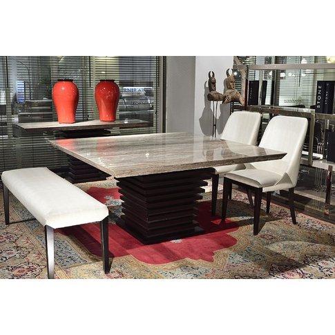 Stone International Ark Beveled Marble Dining Table ...