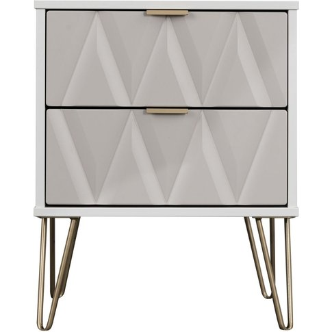 Sweet Dreams Jenson Grey And White 2 Drawer Bedside Cabinet