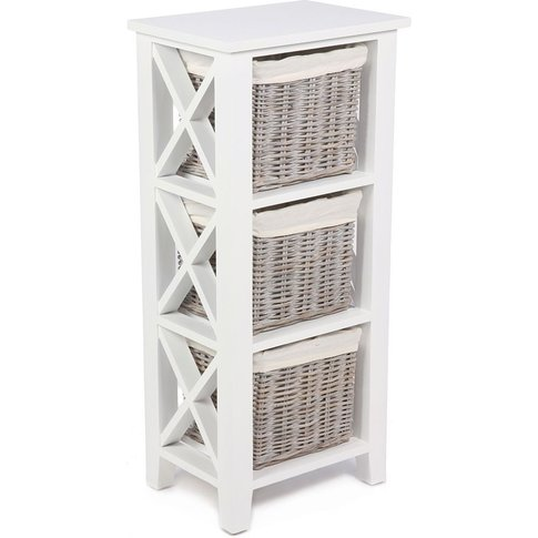 The Wicker Merchant 3 Basket Vertical Cabinet With C...