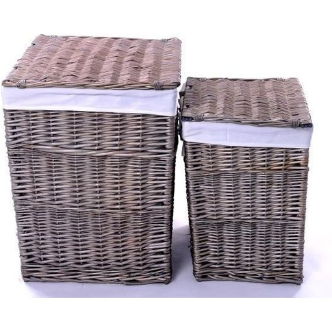 The Wicker Merchant Ash Grey Square Laundry Basket (...
