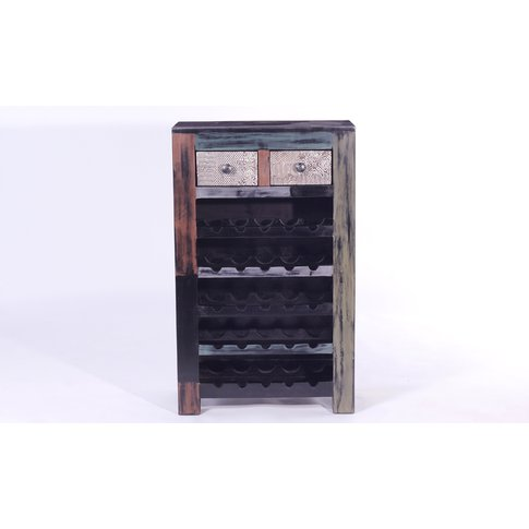 URBAN Vintage Mango Wood 2 Drawer Wine Rack
