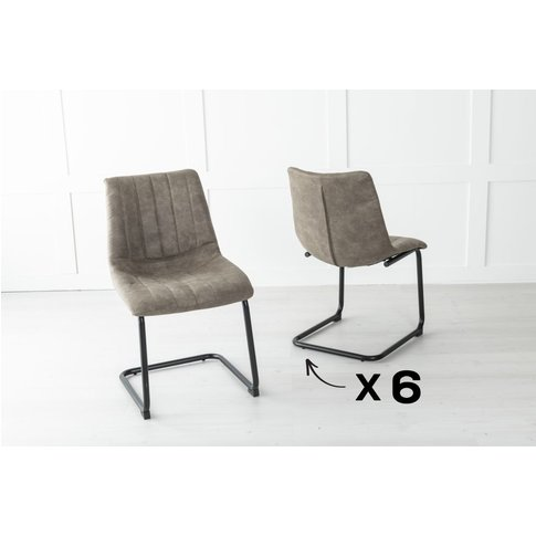 Set Of 6 Angles Metal Chocolate Brown Dining Chair