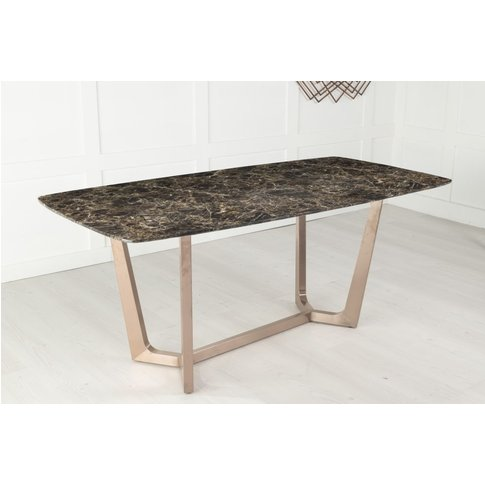Aurora 180cm Dining Table - Brown Marble And Stainle...