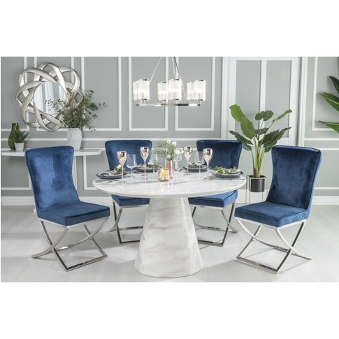 Urban Deco Carrera 130cm White Marble Dining Table A...