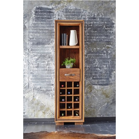 GRANDE Sheesham and Leather Trim Wine Rack with 1 Dr...