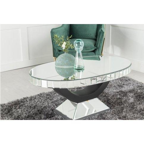 Urban Deco Crystal Mirrored Oval Coffee Table