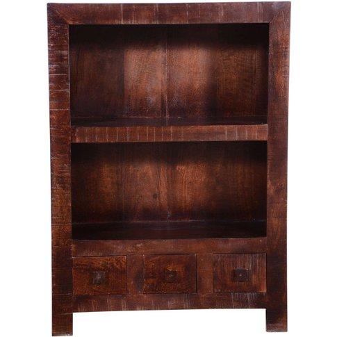 Dakota Dark Mango Distressed Bookcase - 3 Drawer
