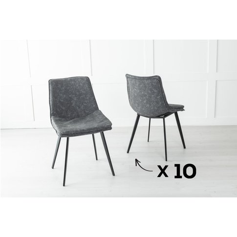 Set Of 10 Ezra Metal Grey Dining Chair