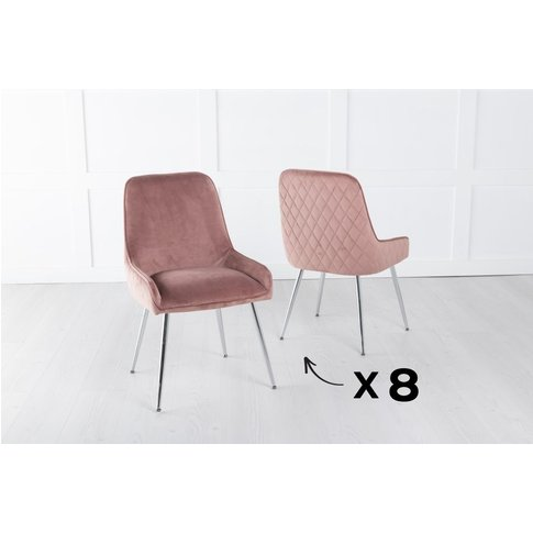 Set Of 8 Hamilton Pink Velvet Back Quilted Dining Ch...