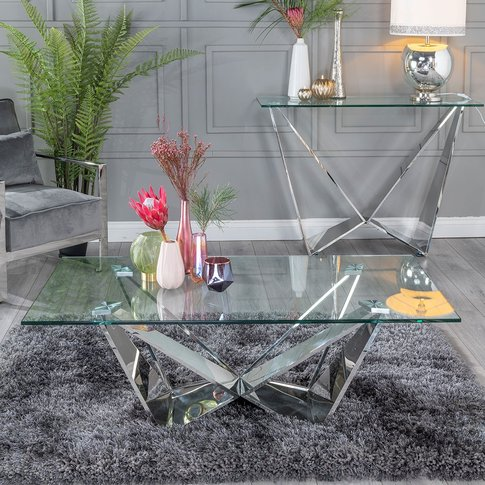 Urban Deco Jazz Coffee Table - Glass And Stainless S...