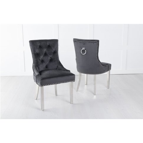 Black Velvet Knockerback Ring Dining Chair With Chro...