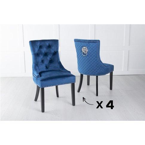 Set Of 4 Blue Velvet Cross Stitched Lion Head Ring B...