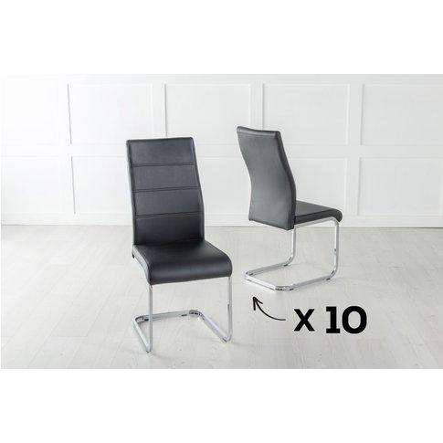 Set Of 10 Malibu Metal Black Dining Chair